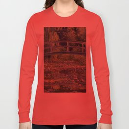 Water Lilies and the Japanese Bridge by Claude Monet Long Sleeve T-shirt