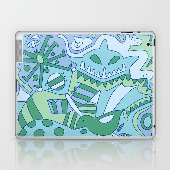 Abstract Animals - Blue and Green  Laptop & iPad Skin
