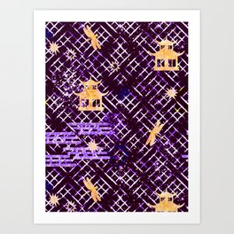 Golden Shibori (Purple) Art Print