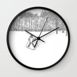Little Skier II Grey Wall Clock