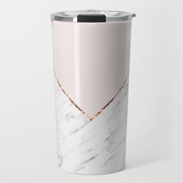 Peony blush geometric marble Travel Mug