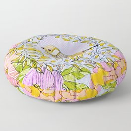 Spring Chickadee in Flowery Woodland Wreath Floor Pillow