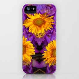 YELLOW SUNFLOWERS AMETHYST FLORALS iPhone Case