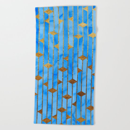 Blue Marble Skyscrapers Beach Towel