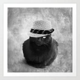 Cat with hat Art Print