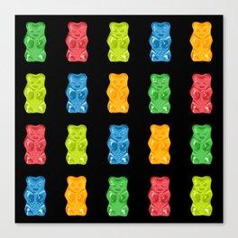 Rainbow Gummy Bears Pattern on Black Background Canvas Print