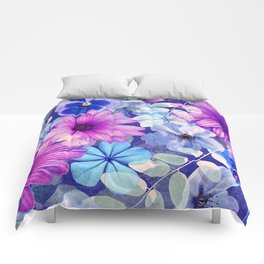 Dark pink and blue floral pattern Comforters