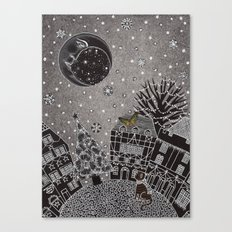 'Twas a Moonlit Winter Night Canvas Print