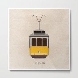 Travel poster of Lisbon tram in Portugal Metal Print