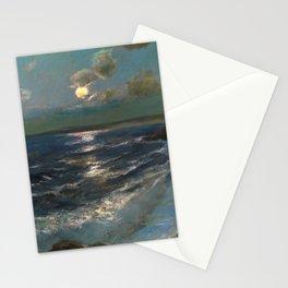 Twilight Moon coastal nautical landscape painting by Julius Olsson Stationery Cards