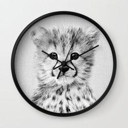 Baby Cheetah - Black & White Wall Clock