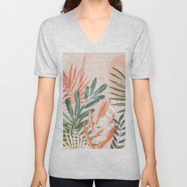 Tropical Leaves 4 Unisex V-Neck