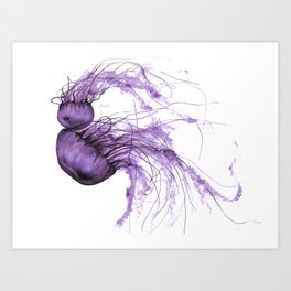 Neanderthal Pacific Sea Nettle, Burgundy  Art Print