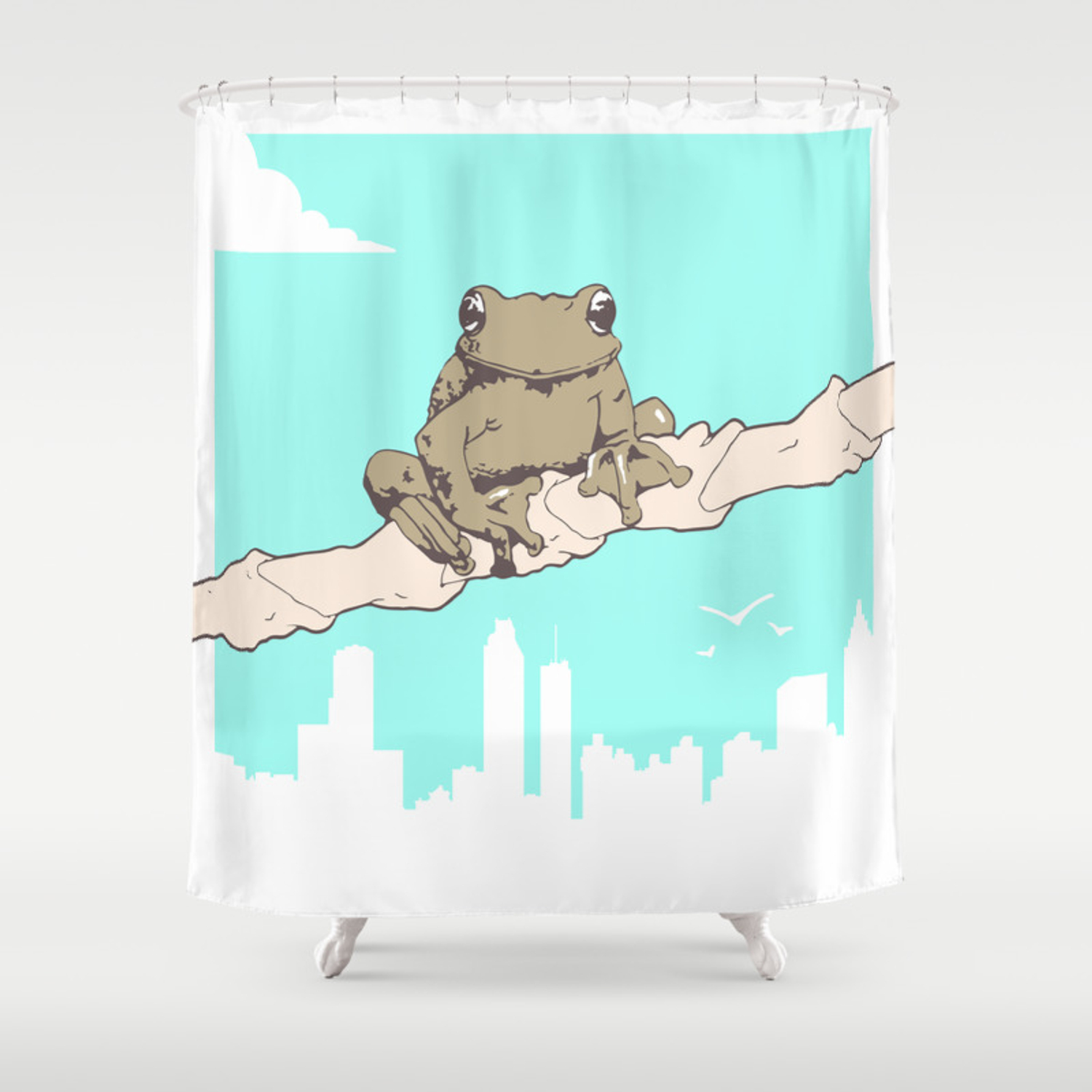 City Frog Shower Curtain