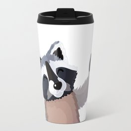 raccoon and butterfly. Vector graphic character Travel Mug
