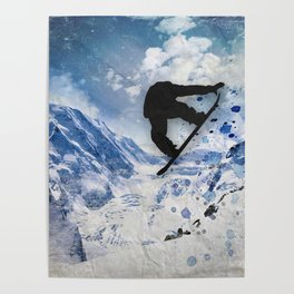Snowboarder In Flight Poster