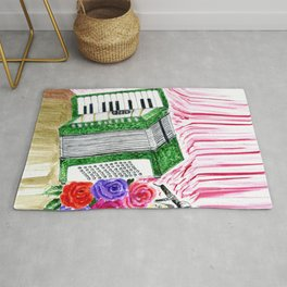 Accordion with roses Rug