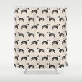 Australian Shepherd owners dog breed cute herding dogs aussie dogs animal pet portrait hearts Shower Curtain