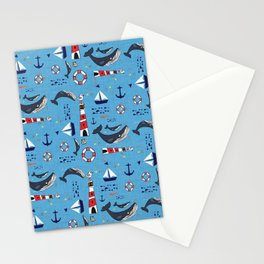 Ocean Blue Whale Blue Stationery Cards