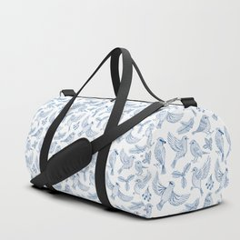 Winter Birds and Foliage Pattern (Blue) Duffle Bag