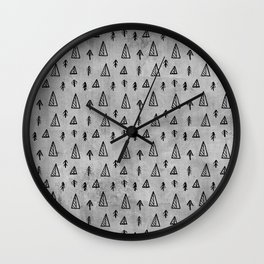 Black abstract tree pattern on concrete  - Mix&Match with Simplicty of life Wall Clock