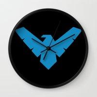 nightwing Wall Clocks featuring Minimal Superheroes - Nightwing by AlexR56