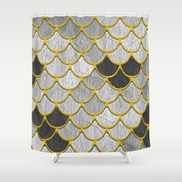 Dragon Scales with Yellow Outlines Shower Curtain