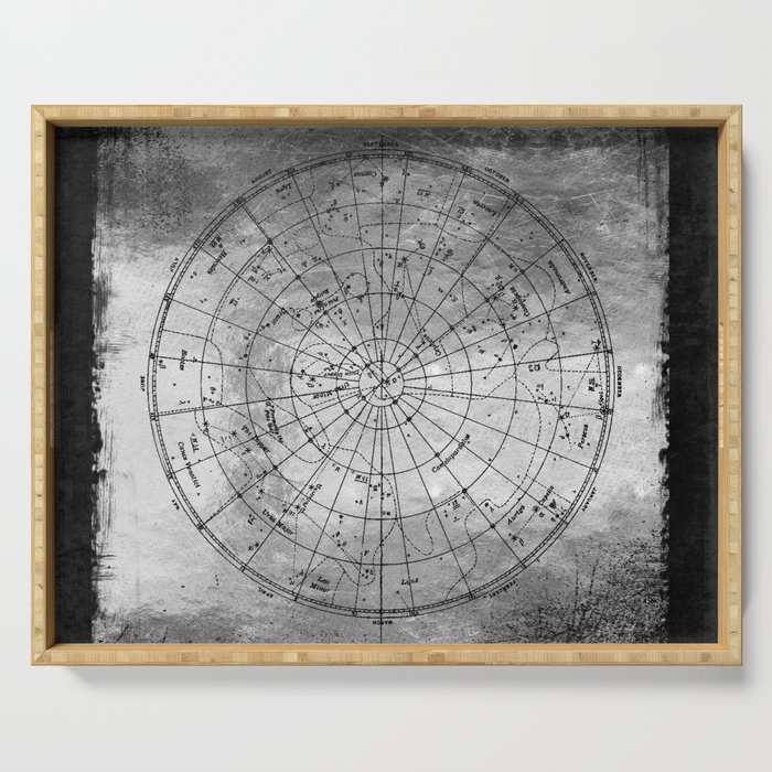 Old Metal Northern Constellation Map Serving Tray