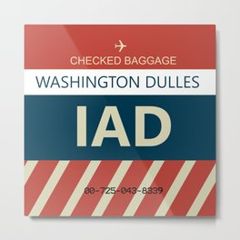 Washington Dulles Airport (IAD) Baggage Tag Metal Print