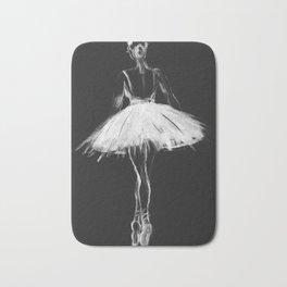 Ballerina black white, pastel on black paper Bath Mat