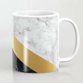 Stone Arrow Pattern - White & Black Marble & Gold #147 Coffee Mug