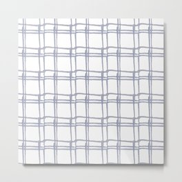 Tic Tac Toe Chambray Metal Print