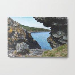 Sea View Through the Rocks, St Ives Cornwall (2) Metal Print