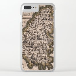 Map Of Iceland 1570 Clear iPhone Case