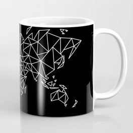 White on Black Geometric Low Poly Map of The World / Polygon geometry Coffee Mug