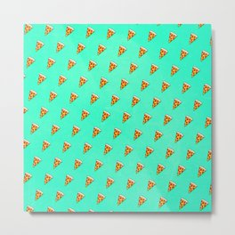 Cool and Trendy Pizza Pattern in Super Acid green / turquoise / blue Metal Print
