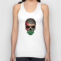 palestine Tank Tops featuring Dark Skull with Flag of Palestine by Jeff Bartels