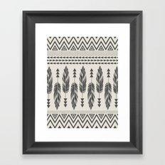 Tribal Feathers-Black & Cream Framed Art Print