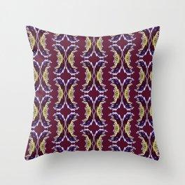 Yellow Burgundy Ornament Baroque Damask Pattern Throw Pillow