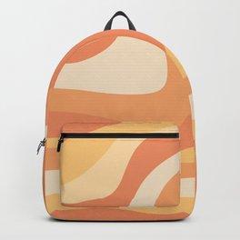 Vintage Retro Waves 70s 80s Pattern Hippie Boho Decor Orange Yellow Groovy Rainbow Backpack