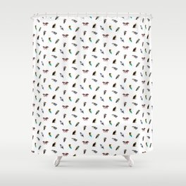 the living bird is not its labeled bones Shower Curtain