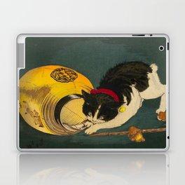 Kobayashi Kiyochika Black & White Cat Fluffy Cat Japanese Lantern Vintage Woodblock Print Laptop & iPad Skin