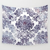 damask Wall Tapestries featuring Blueberry Damask by Dena Brender Photography