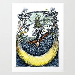 Crescent Canoeist Art Print