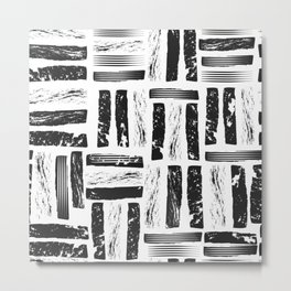 Textured marker hand drawn vertical horizontal lines Metal Print