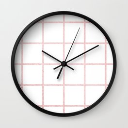 Simply Grid in Rose Gold Sunset Wall Clock