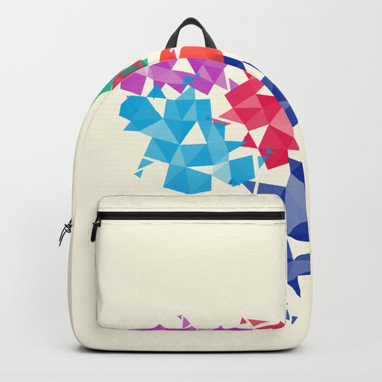 Background of geometric shapes. Colorful mosaic pattern Backpack