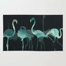 Watercolor Winter Flamingos in Dark collab. with @rodrigomffonseca Rug