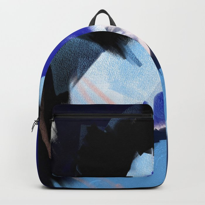 Back to You: an abstract, mixed-media piece in blues by Alyssa Hamilton Art Backpack