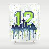 seahawks Shower Curtains featuring Hawks 12th Man Fan Art by Olechka